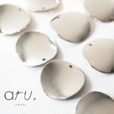 [S1811-17s]【10個】 メタルチャーム 丸型 カーブ 穴あり シルバー 銀