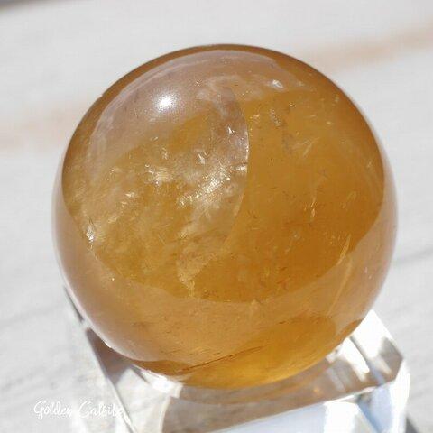 天然石ゴールデンカルサイト(メキシコ産)約87g直径約39.5mmスフィア 方解石 丸玉つやつや鉱石鉱物テラリウムお守り素材[rgcal-211017-03]
