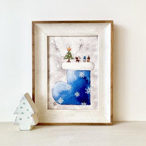 🎄A4ポスター 透明水彩画 「青いクリスマスブーツ」北欧イラスト クリスマスインテリア クリスマスギフト クリスマス 北欧インテリア ナチュラルインテリア クリスマスポスター🎄