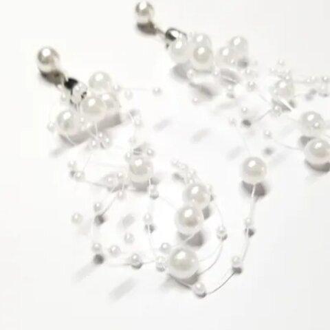 ピアス ノンホール パール シャワー イヤリング パール レース 樹脂ピアス 樹脂イヤリング プレゼント ホワイト NO.8075