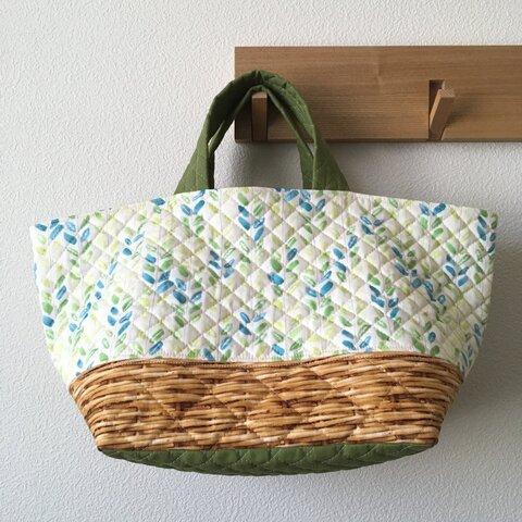 《在庫sale‼︎》キルティングdeトートバッグ-C25 #026【green in the basket】