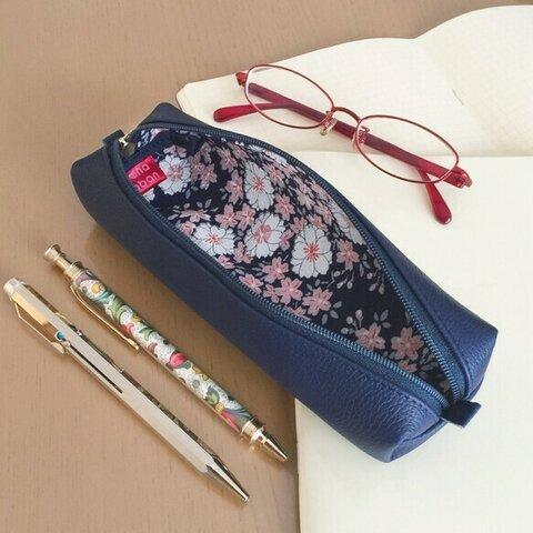 本革と和文様のペンケース【絹縮緬】- 桜文様