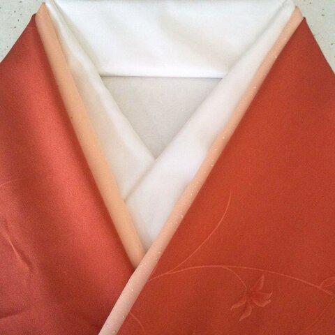 【新品】正絹重ね衿(ライトサーモンピンク)丹後ちりめん・広巾伊達襟