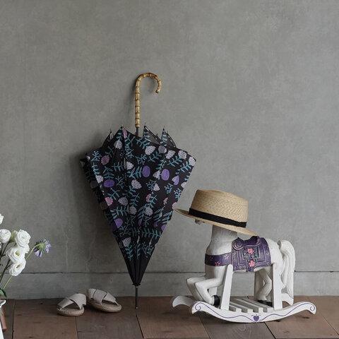 竹の傘 flower black 晴雨兼用 長傘 ALCEDO 161009