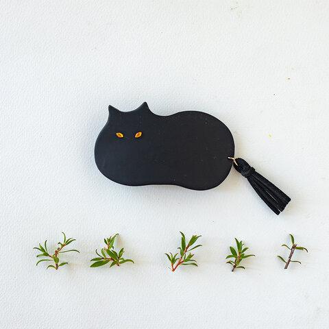 しっぽが揺れる猫のバレッタ(黒)