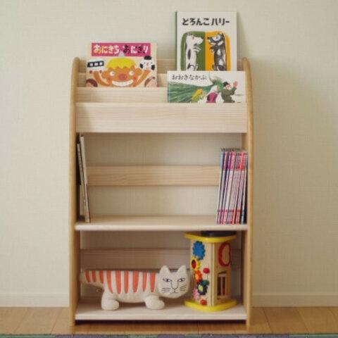 木製の丸いデザインの絵本棚 60幅90高 中段広め 受注生産