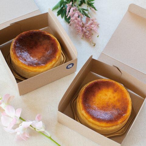 【セット販売】とけだすバスクチーズケーキ2個セット(プレーン&塩味) ホールケーキ12cm(プチギフト, ギフト)