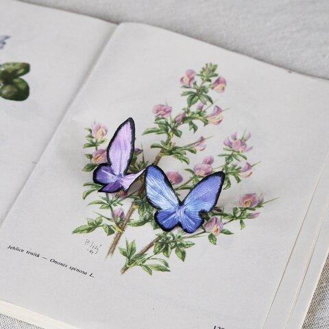 【布花】モルフォチョウのブローチ(大)【染花】