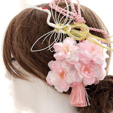 鶴と桜の髪飾り☆ヘッドパーツ☆ヘッドドレス成人式 卒業式 入学式髪飾り