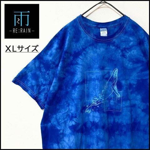 メンズ服新品タイダイ柄半袖TシャツXL イラスト プリント クジラ 青 おしゃれ