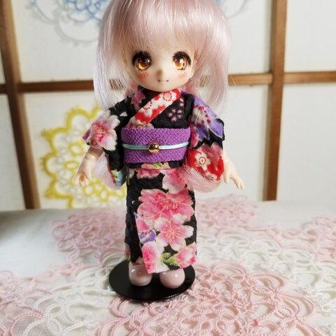 【オビツ11 服】浴衣・黒×紫