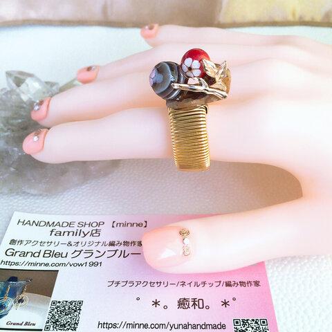 ★ 桜めぐり リング ★ 姫川薬石 赤珊瑚 縞瑪瑙  伸縮性フリーサイズ