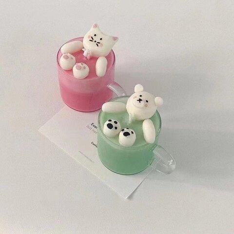 1p Nart Candle スプリット猫さんのモールド シリコンモールド キャンドルモールド 猫 スプリット