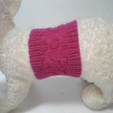 ショッキングピンクの縄編み柄の腹巻(haramaki-31)