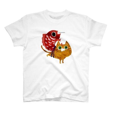 【¥3,388〜 SUZURIで販売中】猫と鯛 めで鯛 福猫 茶トラ猫 Tシャツ