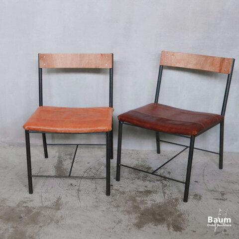 71 [S.T Chair(Leather)] 送料無料 ダイニングチェア 軽量 レザーチェア 本革 無垢 アイアン 馬革 帆布 ホワイトオーク