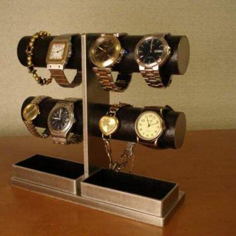 誕生日プレゼントに  8本掛け丸パイプブラック腕時計スタンド ak-design No.11711