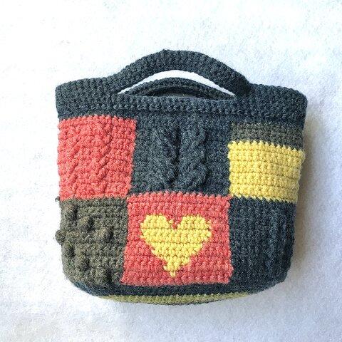 手編みトートバッグ イエローハート