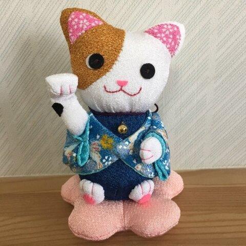 ちりめん和ぬいぐるみ・招き猫(左手)