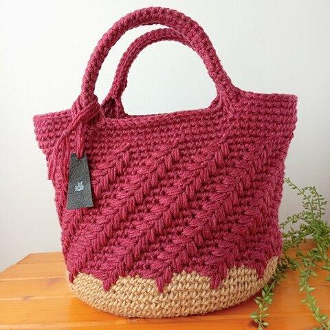 【新作】ヘリンボーン(ワインレッド) 毛糸のバッグ