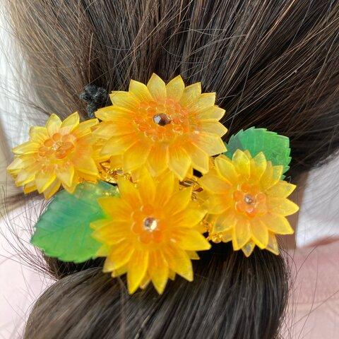 ミニ 夏の日差しのたくさんのひまわりバレッタ  向日葵 髪飾り