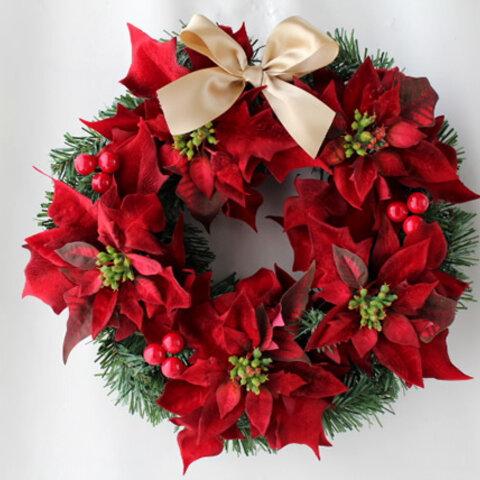 クリスマスリース 造花 32cm ポインセチア W-286