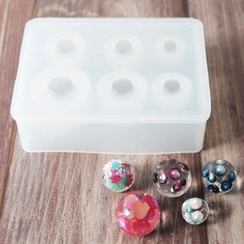 (#9-10 球体 6サイズ)6サイズの球体に近い型どりができる シリコンモールド  シリコン型 レジン モールド 型 レジンクラフト シリコンモールド パーツ