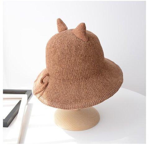 ねこ 日よけ帽子 ツバ広麦わら帽子 紫外線よけ 折りたためる