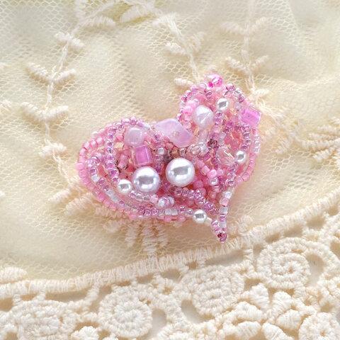 ハートのビーズブローチ Pink!!