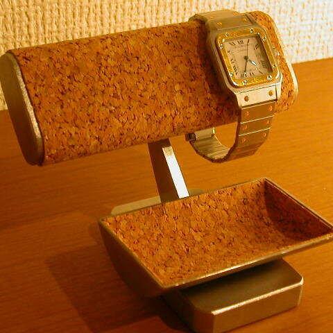 腕時計 飾る だ円パイプ腕時計2本掛けトレイ付き腕時計スタンド IMG0036