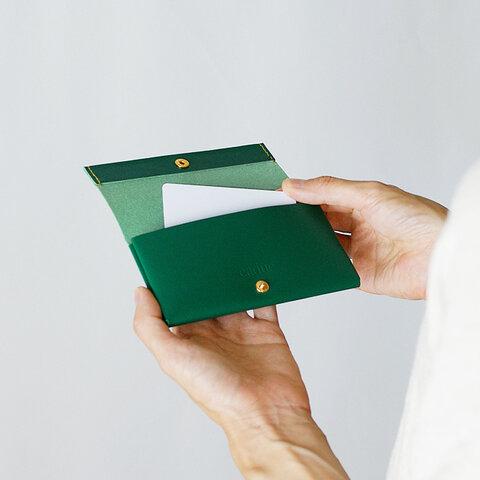 カードケース・コインケース ディープグリーン(イタリア牛革・顔料仕上げ)小銭入れ・ミニ財布にも