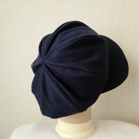 魅せる帽子☆新色♪あったかふんわり大きめリバーシブルキャスケット~ネイビー&ブルー
