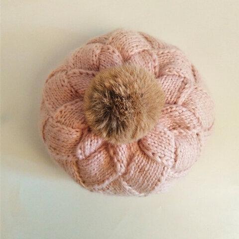 【受注生産】【Lady's】ほっこりあたたかベレー帽 ピンク