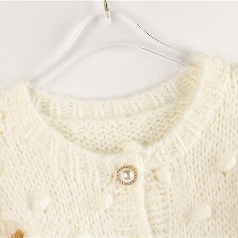 毛100%の編み込み模様前開き丸襟カーディガン🍒