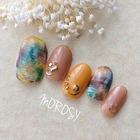 MOROSY83☆秋 ツイード アート タイダイ スタッズ ネイルチップ