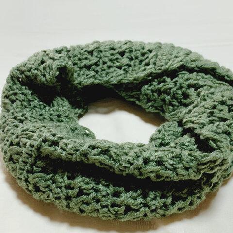 ざっくり編みスヌード*オリーブグリーン