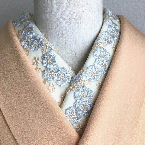 洗える刺繍半衿 銀花