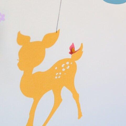 小鹿と鳥と蝶のモビール(カラフルver.)