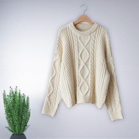 アイボリー 長袖 セーター ニット トップス レディース 冬 ケーブル編み おしゃれ 通勤 ゆったり 上品 ナチュラル 体型カバー オリジナル