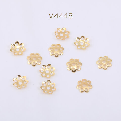 M4445  300個  花座 No.102 座金 7.5×7.5mm ゴールド 3×【100ヶ】