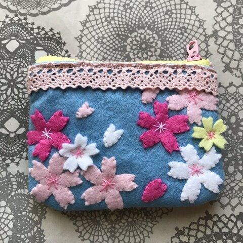 桜の花ミニポーチ