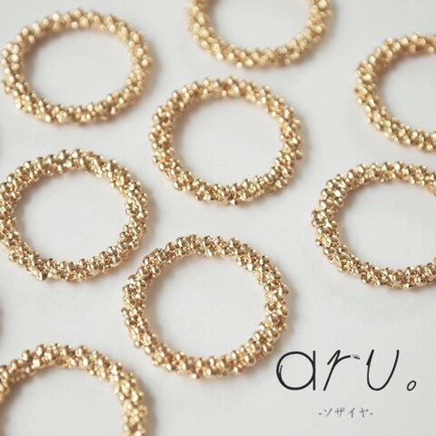 [S1907-6] 【10個】 メタルパーツ リング つぶつぶ ゴールド 22mm 金色