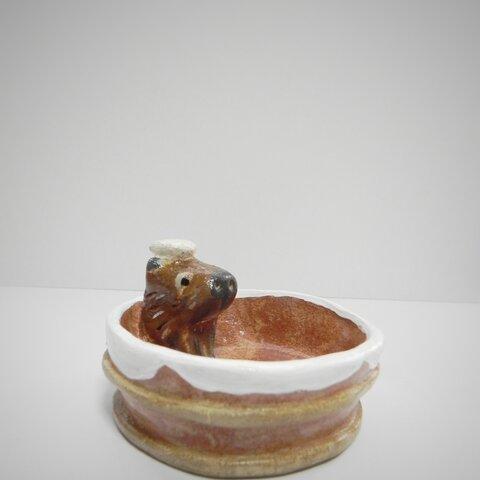 【受注制作】豆皿『カピバラの湯』小皿 薬味皿 オーブン粘土