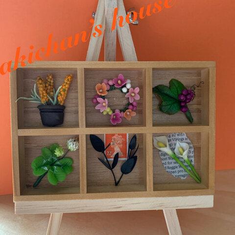 🌸粘土のお花   ナチュラル木のちいさな飾りBOX  お花