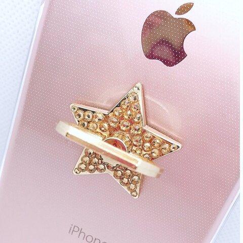 高級スワロフスキー スマホリング スター 星 アイフォン アンドロイド iPhone スマホソケット