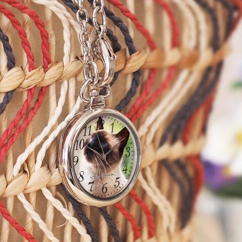 バッグチャーム時計 オーダーメイド 世界に一つのオリジナルウォッチ ペットメモリアル 猫 犬 ウサギ