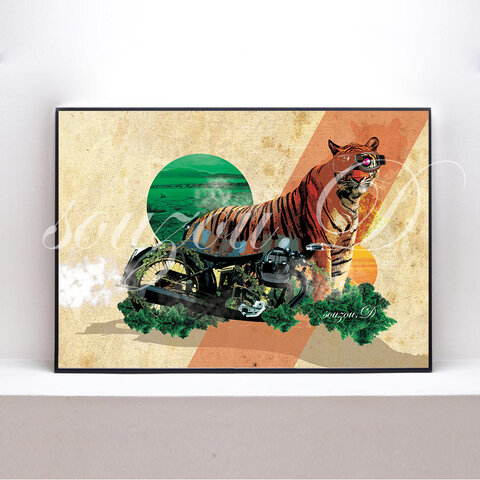 A3グラフィックアートポスター「tiger」