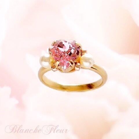 桜ピンク・大粒ハートのスワロフスキーとパールの可憐なリング「プリンセス・エラ(シンデレラ)」