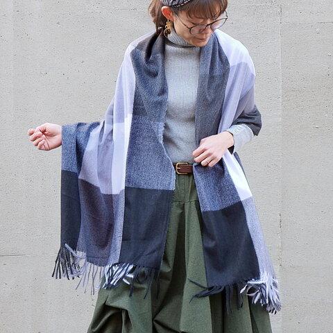 毛布に包まっているような柔らか素材*ブロックチェック柄*肩から掛けて羽織替わりとしても◎大判ストール*ブラック