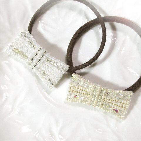 アイボリーと白のリボンビーズ刺繍ヘアゴム